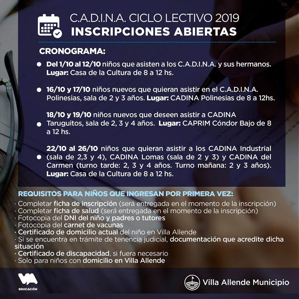 Villa Allende: Inscripción CADINA ciclo lectivo 2019