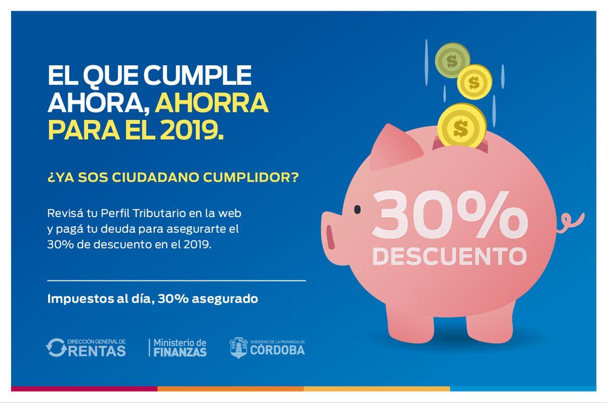 Rentas Córdoba: el que cumple en 2018, ahorra en 2019