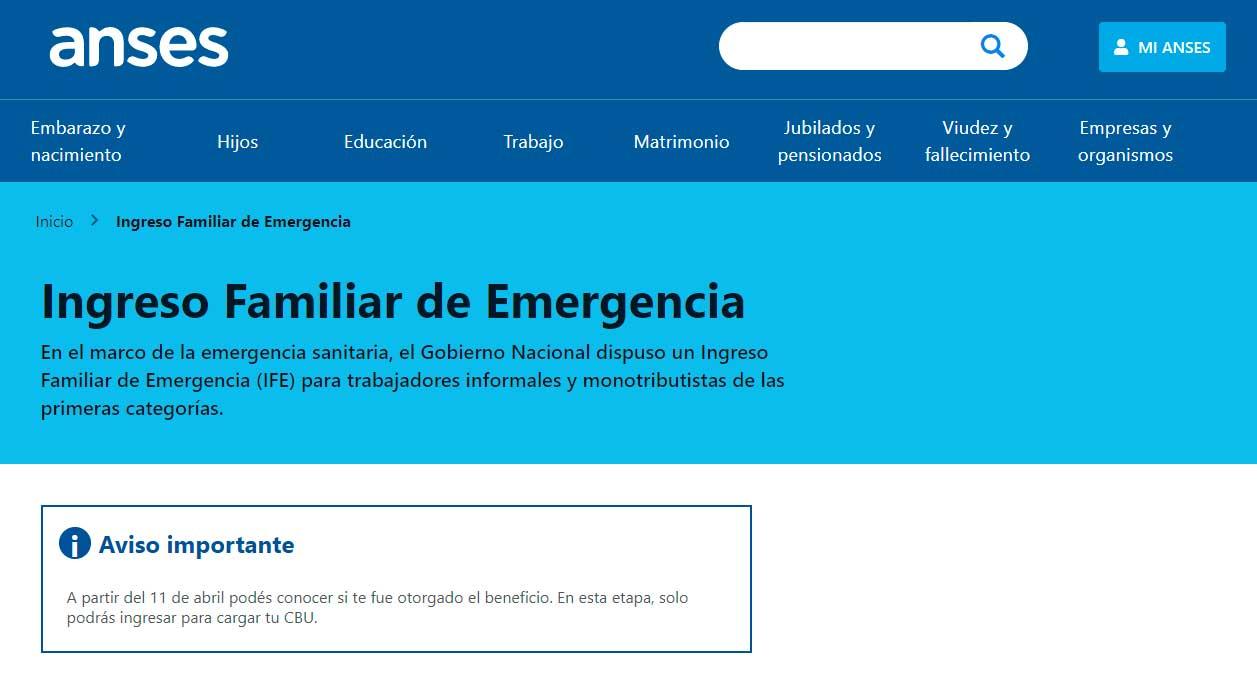 Lanzan nueva convocatoria para el Ingreso Familiar de Emergencia para el 22 de abril