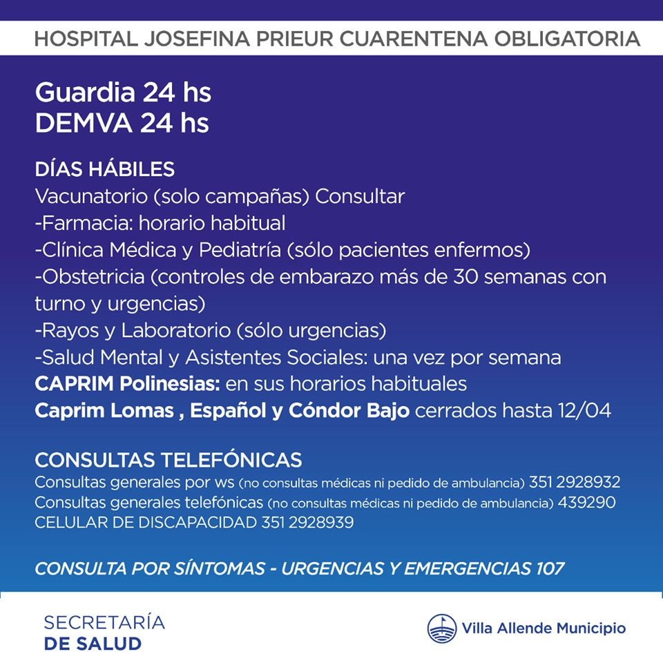 CRONOGRAMA HOSPITAL JOSEFINA PRIEUR EN CUARENTENA