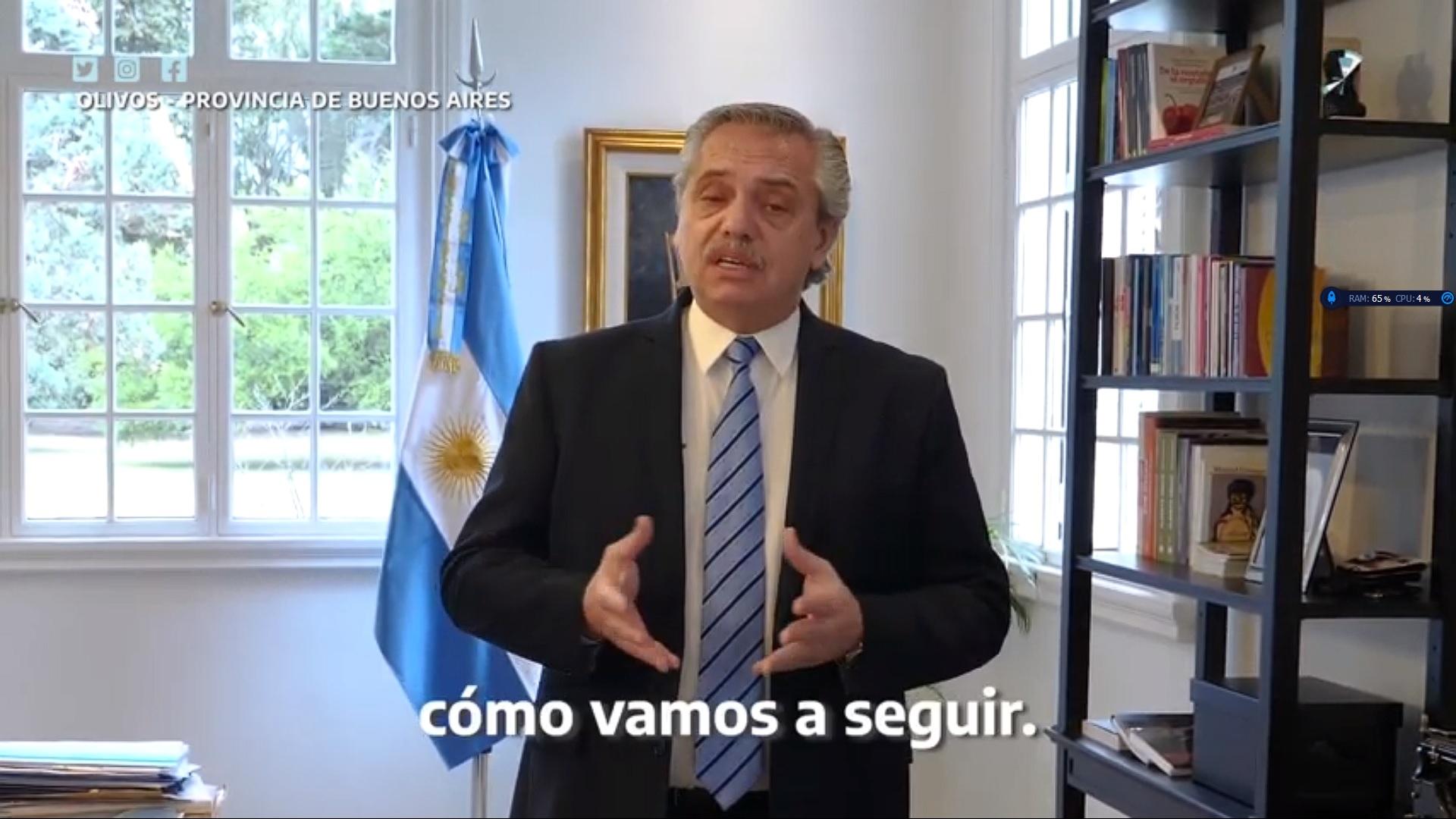 Fernández anunciará por redes sociales la continuidad del aislamiento social por el coronavirus