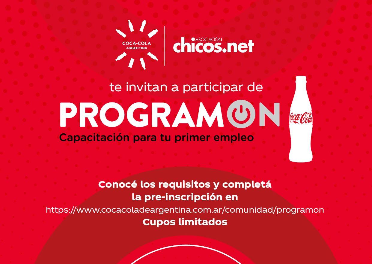"""UNQUILLO: invita a jóvenes al """"ProgramON"""" -capacitación para tu primer empleo- una iniciativa de Coca Cola Argentina y Chicos.net"""